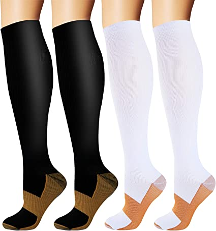 Travel/& Medical Cycling Fit for Athletic ACTINPUT Compression Running Socks for Men /& Women 5 Pack