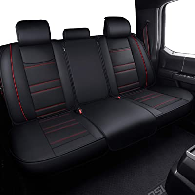 LUCKYMAN CLUB Rear Seat Covers fit for Crew Cab of Ford F150 F250 F350 F450 from 2004 to 2020 Rear Back Bench Covers with Waterproof Faux Leather (Black & Red Rear Covers): Automotive