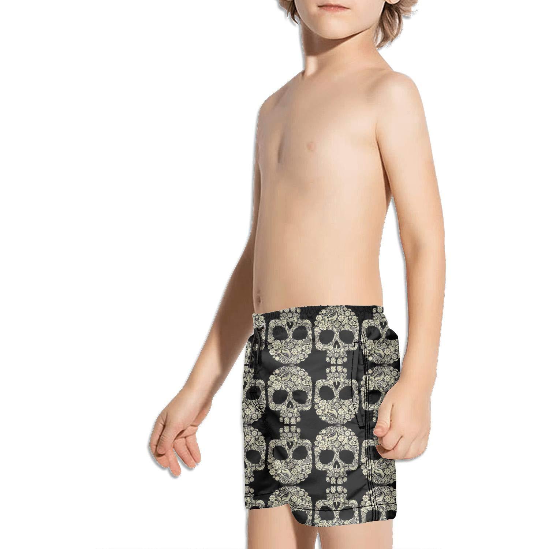 LKIMNJ Boys Swim Trunks Sunflower Skull Rose Quick Dry Bathing Suits Beach Board Shorts