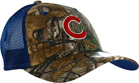 Amazon.com   Chicago Cubs Realtree Camo Trucker 9FORTY Adjustable ... dad80aa6eba