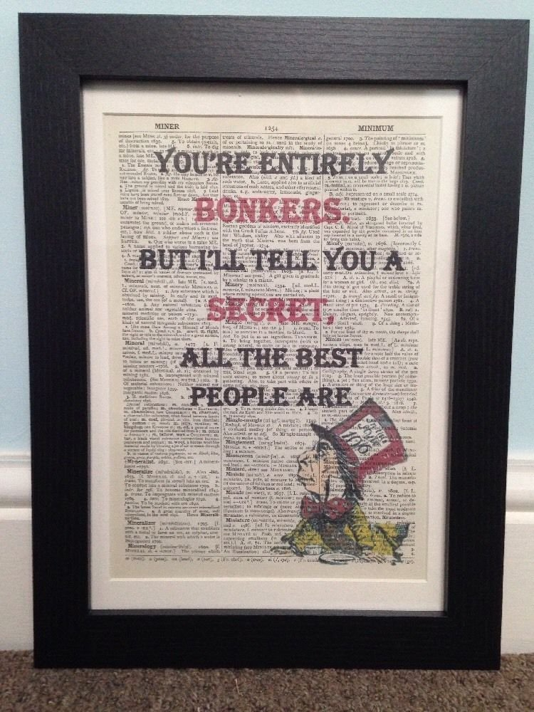 Parksmoonprints Quirky Vintage Mad Hatter Bonkers Quote Dictionary Page Print Wall Art Picture Framed Alice In Wonderland homemade