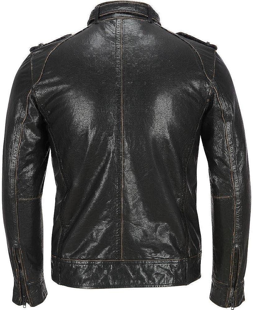 RedSeam Mens Genuine Lambskin Leather Motorcycle Slim Fit Biker Bomber Jacket RM087