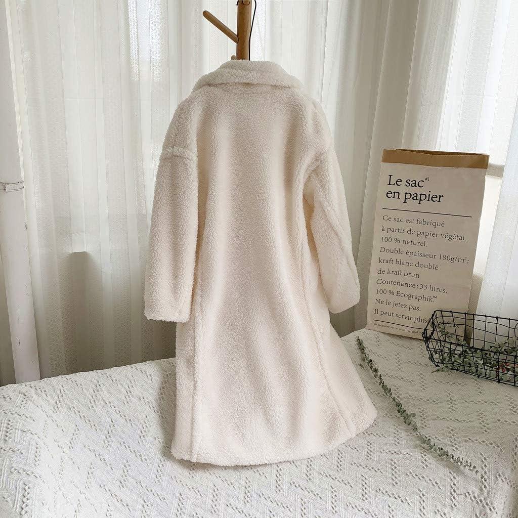 Landscap Womens Fleece Lapel Open Front Long Cardigan Coat Faux Fur Warm Winter Medium Long Jackets with Pockets