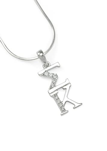 The Collegiate Standard Sigma Kappa Sterling Silver Lavaliere with Czs