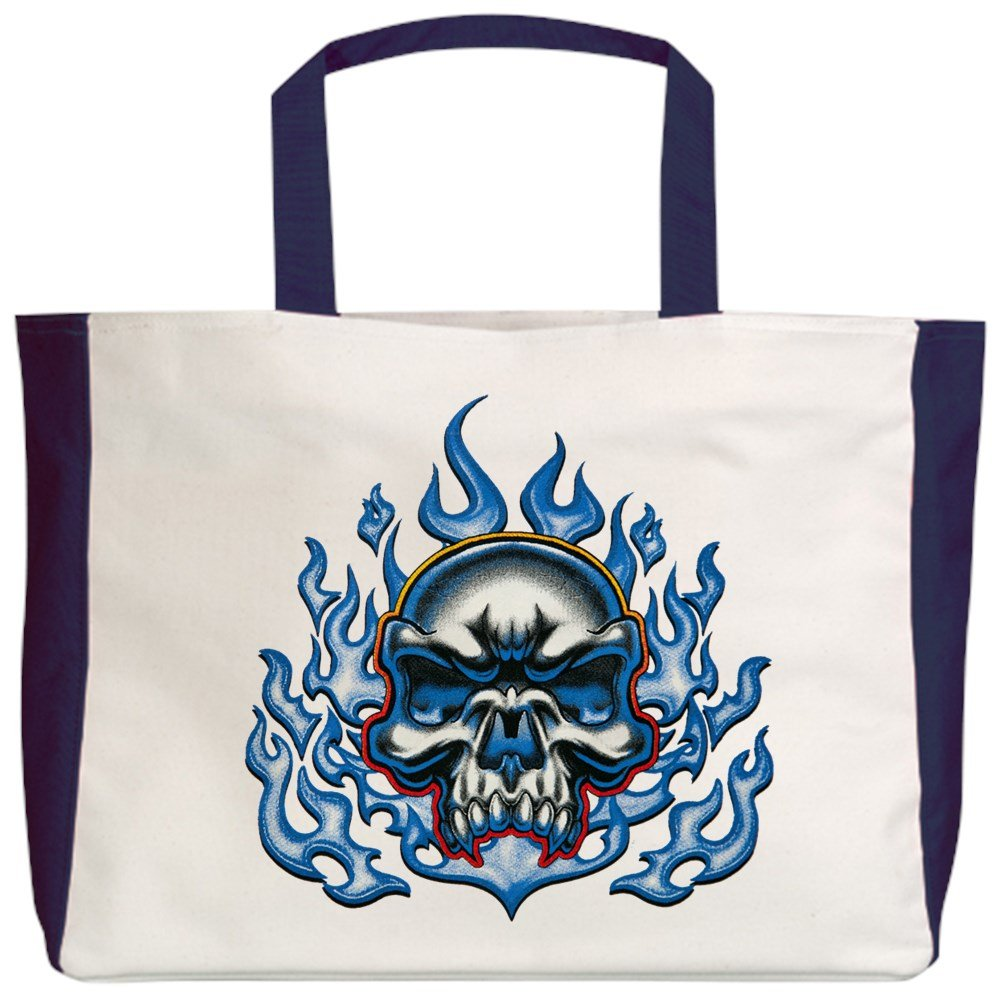 Royal Lion Beach Tote 2-Sided Skull in Blue Flames