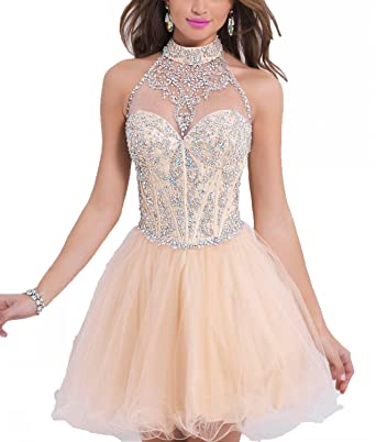 a7574bb866dbe YSK Halter Beaded Crystal Homecoming Dresses Short Bacless Prom Gowns:  Amazon.co.uk: Clothing