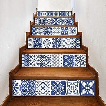 Pegatinas De Escalera 3D Pegatinas De Escaleras De Porcelana Azul Y Blanca China Escaleras De Pasillo Pegatinas De Piso Decorativas: Amazon.es: Bricolaje y herramientas