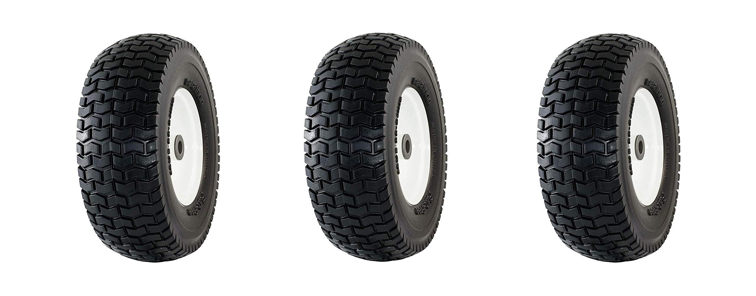 Marathon 13x5.00-6'' Flat Free Tire on Wheel, 3'' Hub, 3/4'' Bushings (Pack of 3) by Marathon Industries