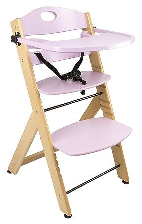 Chaise Haute Avec Plateau En Bois Rose Naturel Bebe Escalier Solide Et Stable Qualite