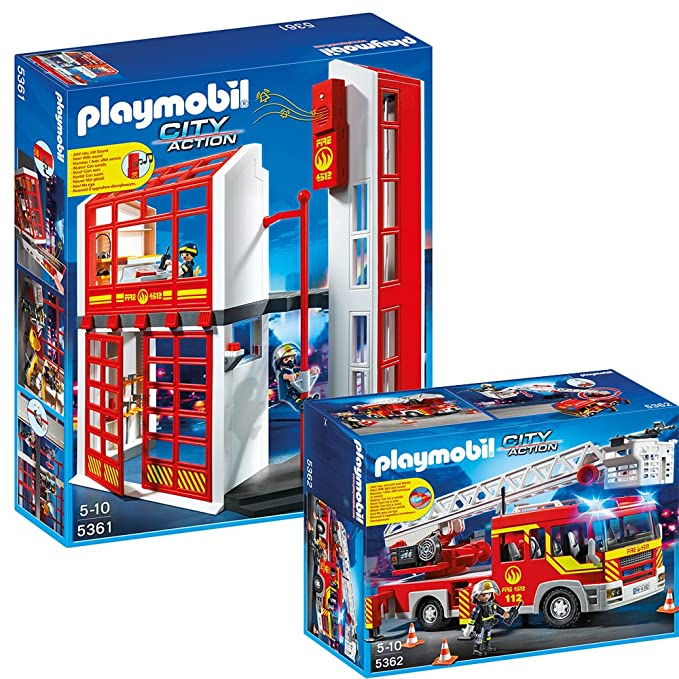 Playmobil City Action Feuerwehr 2 Teiliges Set 5361 5362