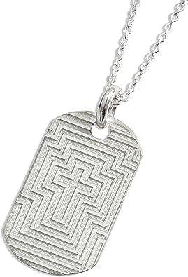 LJ diseños Dog-Tag-collar, cruz-design en el Laberinto-look, Cristiano regalo, incluye estuche, 00332: Amazon.es: Joyería