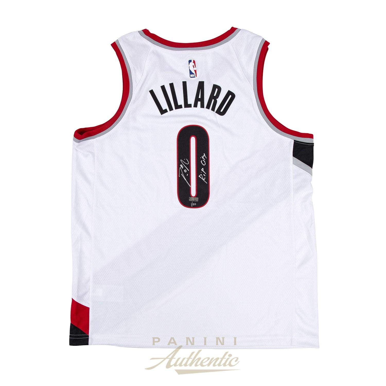 80c30b4779d Damian Lillard Autographed White Nike Portland Trailblazers Swingman Jersey  with