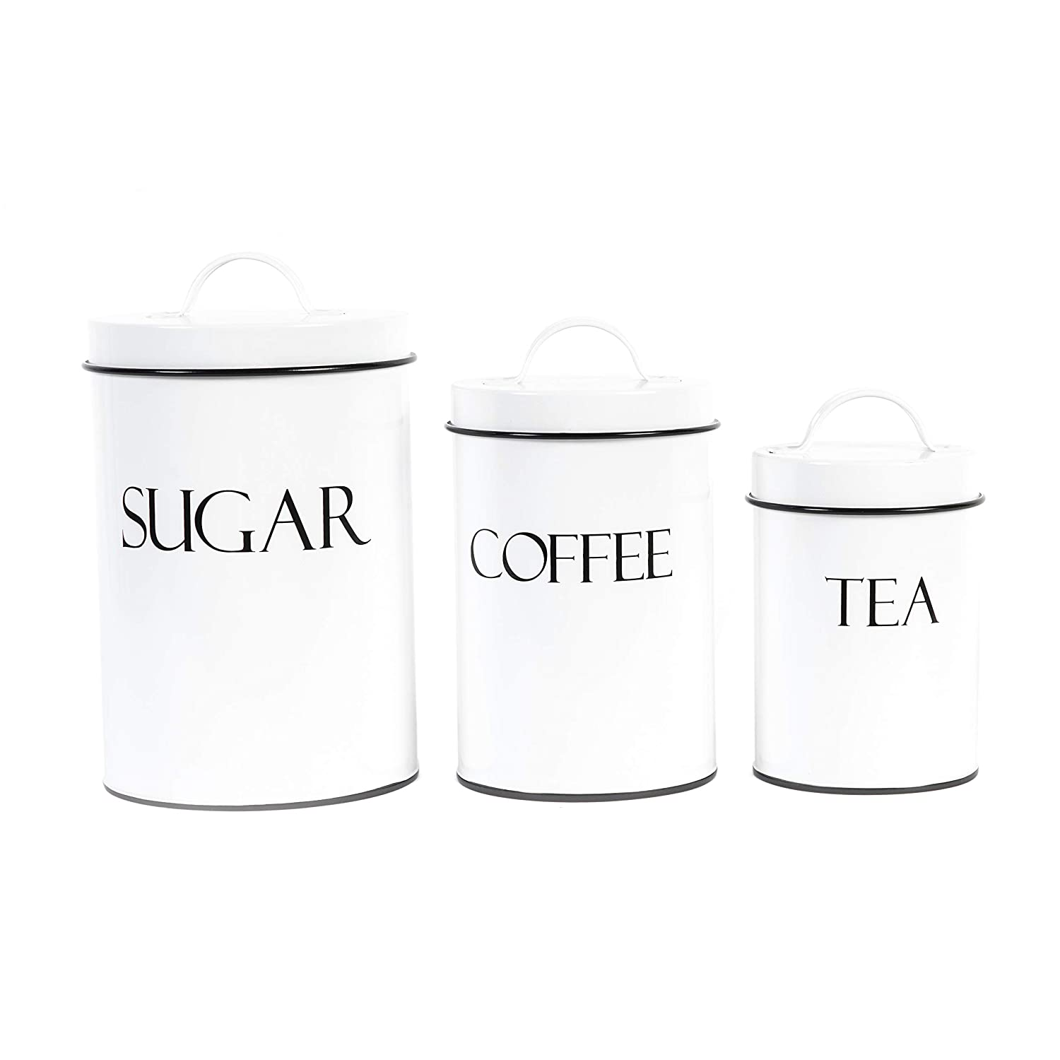 Outshine White Metal Nesting Kitchen Canisters | Air Tight Lids | Kitchen Decor Canister Set | Vintage Farmhouse Design | Perfect for Coffee, Tea & Sugar | Storage Jars | Different Sizes | Set of 3