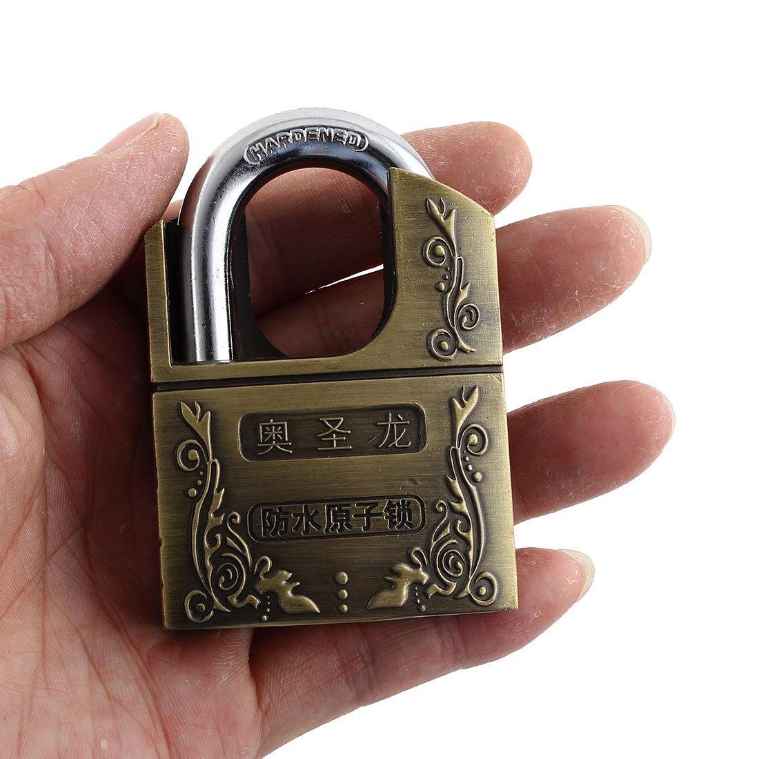 DealMux Móveis Armário Porta 73 milímetros x 51 milímetros x 19 milímetros de bronze Segurança Alloy Locker Manilha Padlock w Chaves