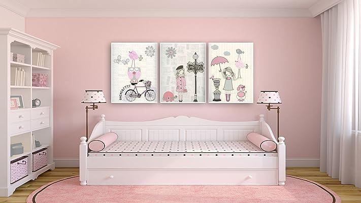 Nursery Paris art baby girl room Set of 3 prints