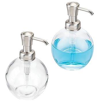 mDesign Juego de 2 dispensadores de jabón recargables – Dosificadores redondos de cristal con cabezal de