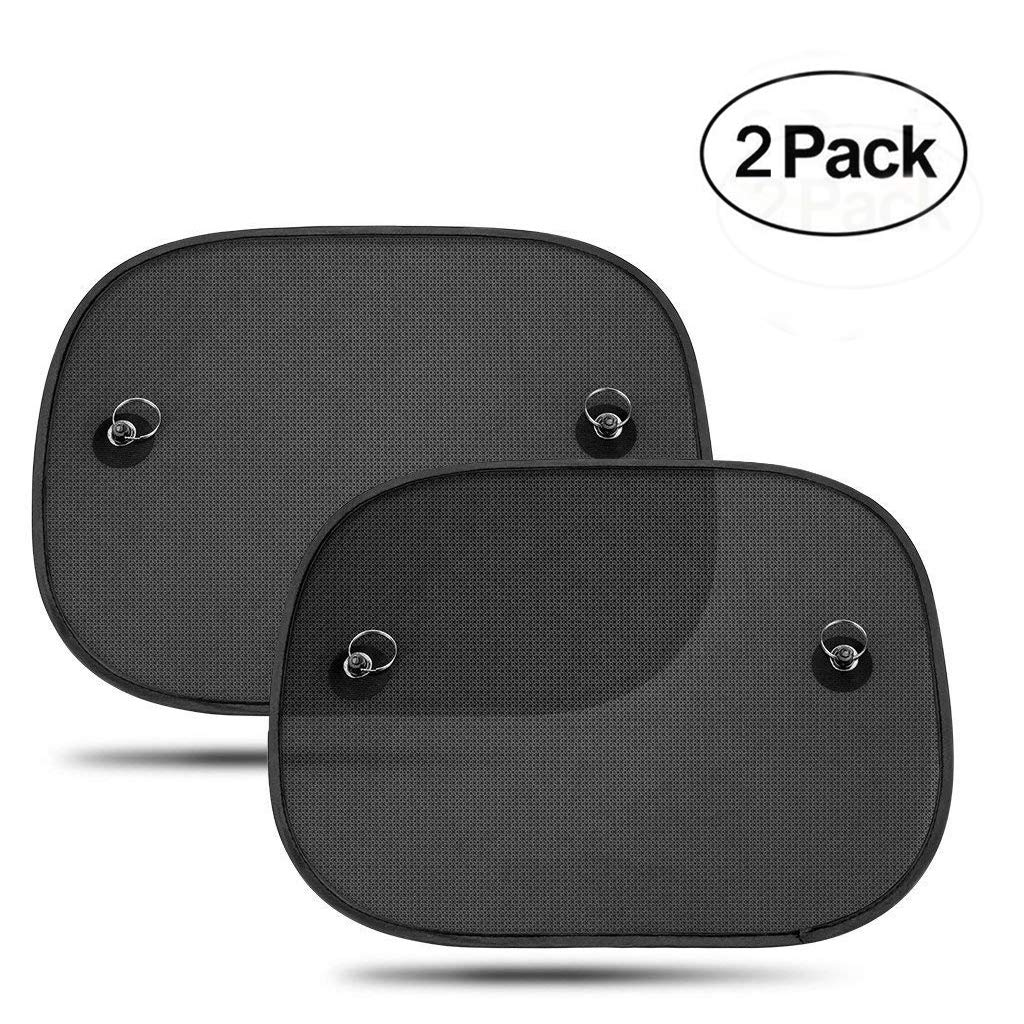 2 Pack Car Sun Visor-HEQUN Car Windscreen Sun Shades are Blocking Over 97% of Harmful UV Rays – Self-adhering Universal Car Windscreen Sun Shade for Kids with Storage Bag (Black)