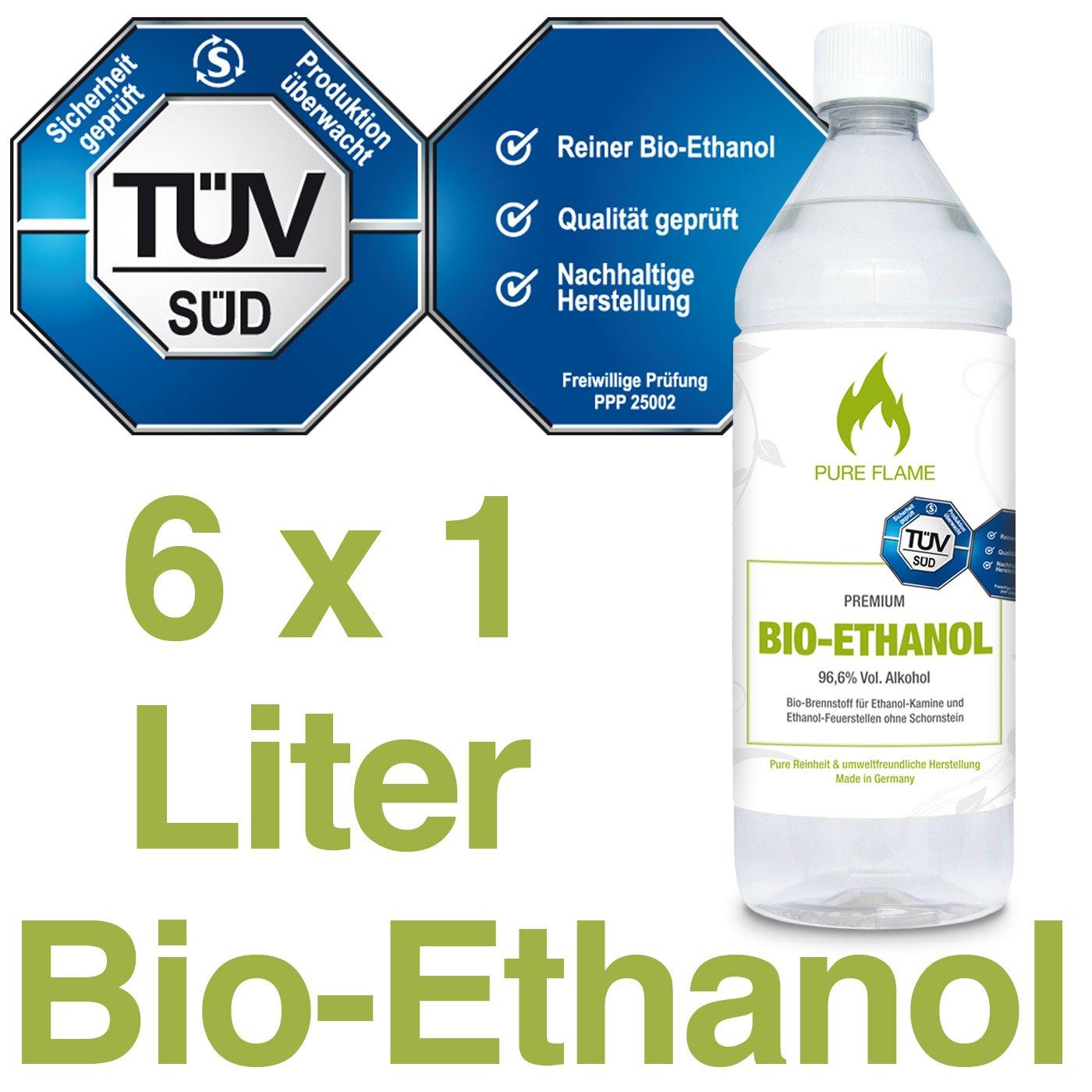 6 x 1L Bioethanol 96,6% - 6 Liter in 1L Flaschen zum handlichen & sicheren Gebrauch - TÜV geprüfte Reinheit, Qualität, Sicherheit & nachhaltige Herstellung - Made in Germany - AKTIONSPREIS NUR 2,48 EUR/L. !!! Qualität Pure Flame Kamin Brennstoffe