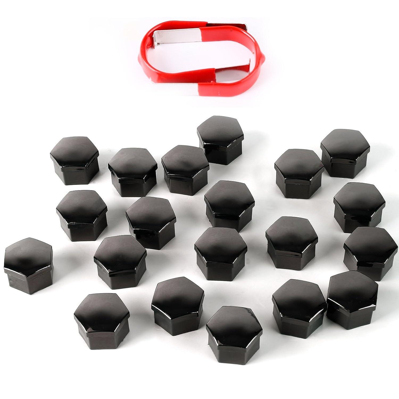 SurePromise One Stop Solution for Sourcing 20/X Tappi Set Covers 19/mm Ruota Dadi Ruota Viti con Tappi a Vite Ruota Copricerchi con estrattore Nero