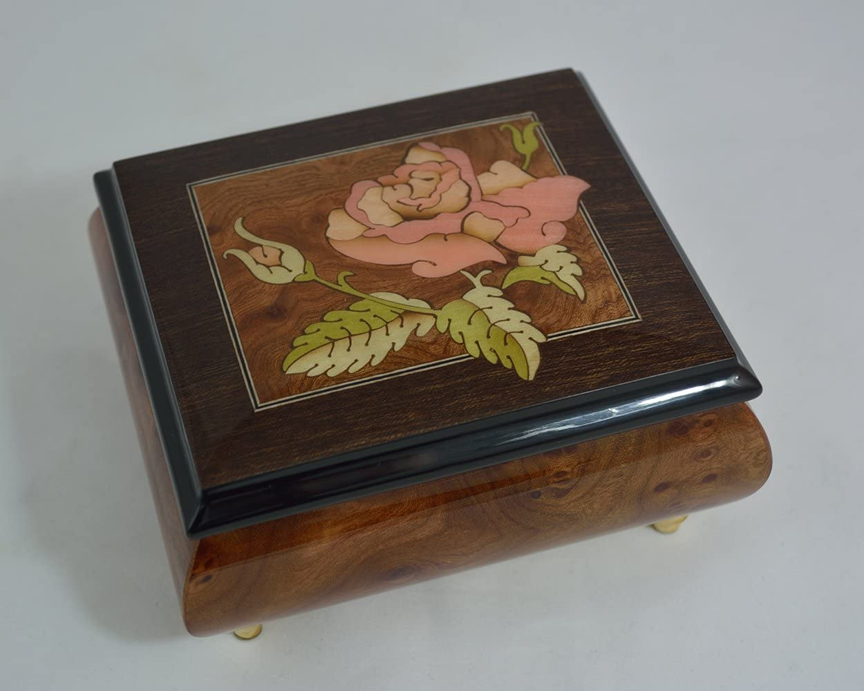 Amazon Com Made In Italy Sorrento Inlaid Inlaid Rose Burl Musical Jewelry Box The Rose Sankyo 18 Notes Home Kitchen
