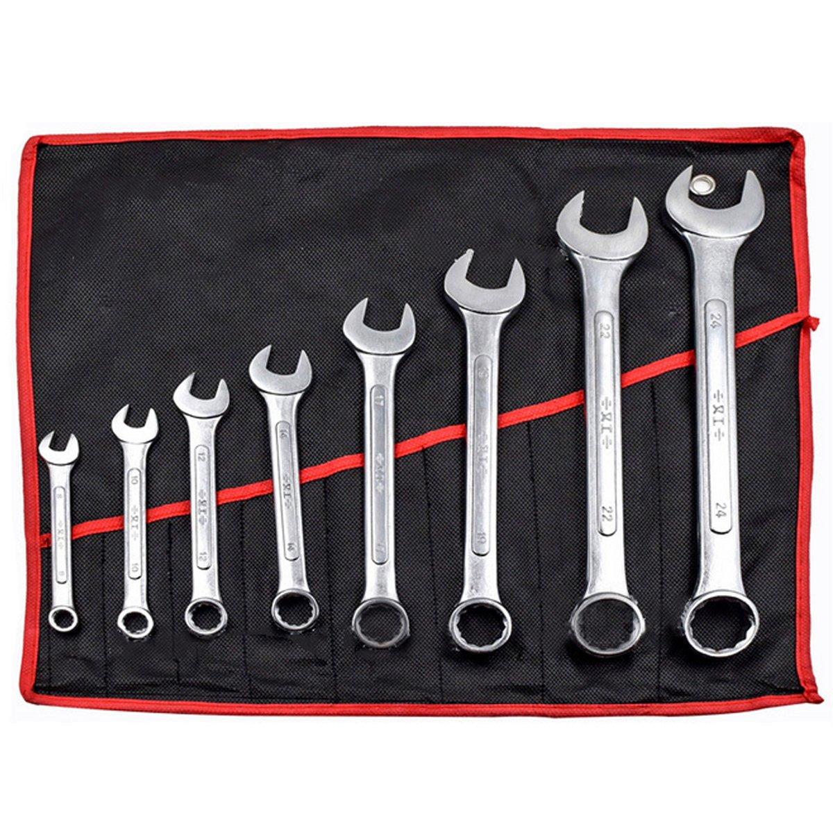 OlogyMart 8pcs Combination Spanner Set 8-24mm Garage DIY Workshop Hand Tool