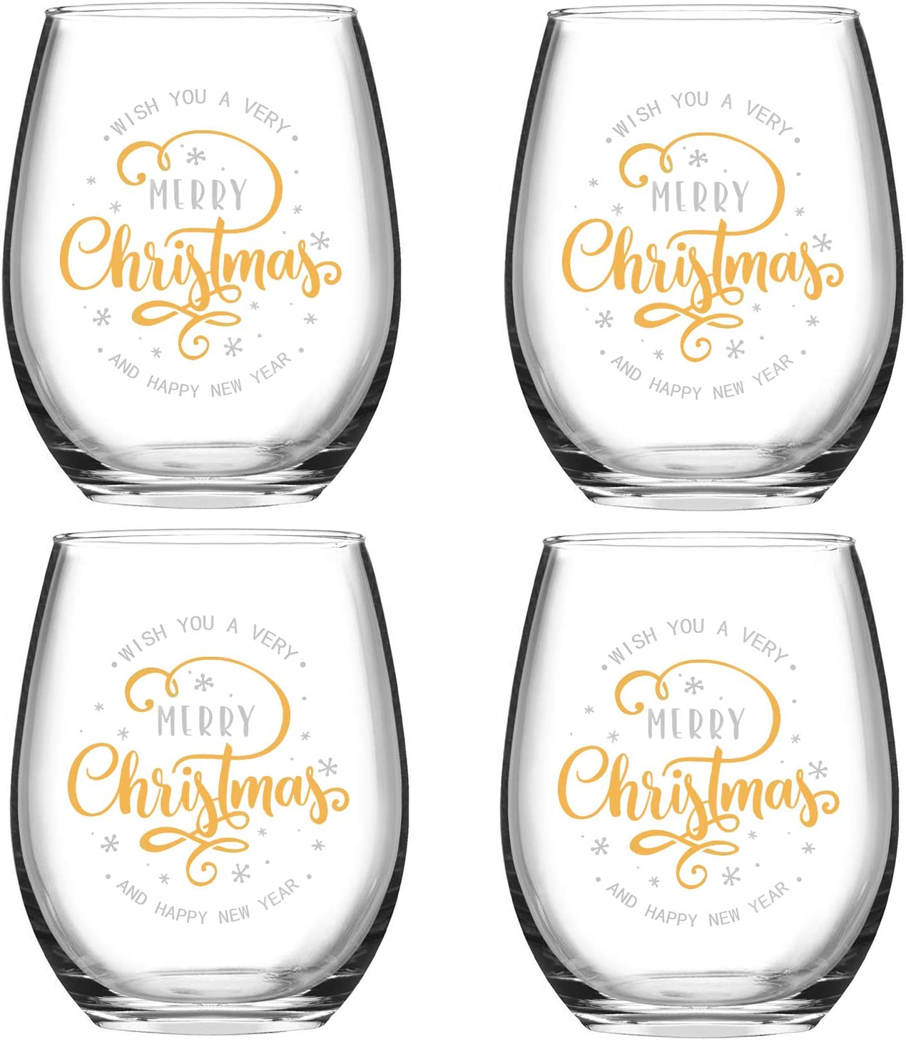 Wish You A Merry Christmas and Happy New Year Stemless Wine Glass Set, Stemless Wine Glasses for Women Friends Men Christmas Wedding Party, Set of 4