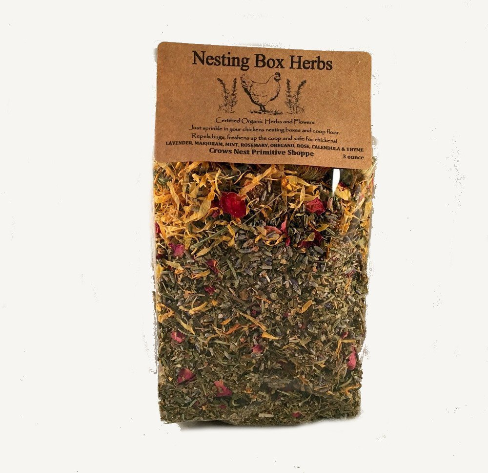 3 ounce packaged- Certified Organic Chicken Coop Nesting Herbal Blend to Freshen the Coop and Relax Chickens. Free Shipping!