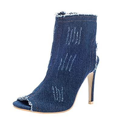 Women Chic Distressed Denim Open Toe Stiletto High Heel Cutout Calf Sexy Summer Ankle Boots Shoes