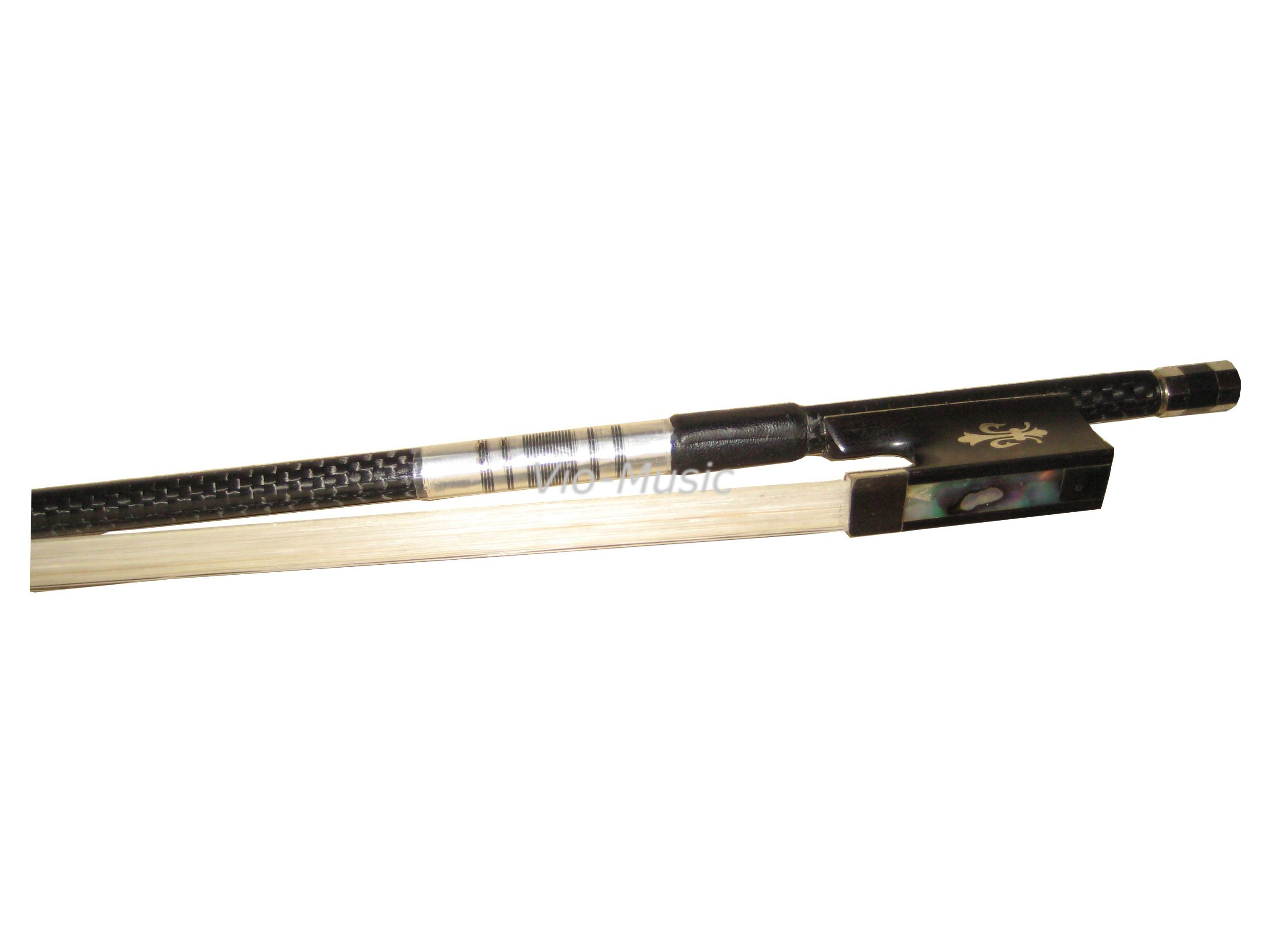Top Braided Carbon Fiber Violin Bow 4/4, Fluer-de-lys Inlay Ebony Frog by Vio Music (Image #6)