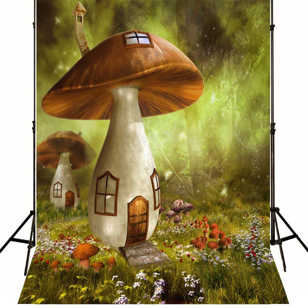 ML Fairytale Weddingバックドロップの写真10 x 10 Large Mushroom House Wonderland Backdrops forキッズ誕生日パーティー   B07DGTW495