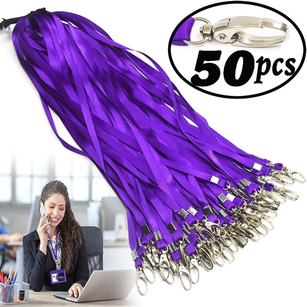 Purple Lanyard Bulk Clips Swivel Hooks Nylon Neck Flat Woven Purple Lanyards with Clip for Id Badges Key Chains,Lanyards 50 Pack 32-inch