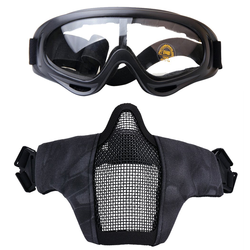 Fansport Mesh Mask Outdoor Goggles Breathable Protective Half Face Mask Airsoft Mask with Goggles