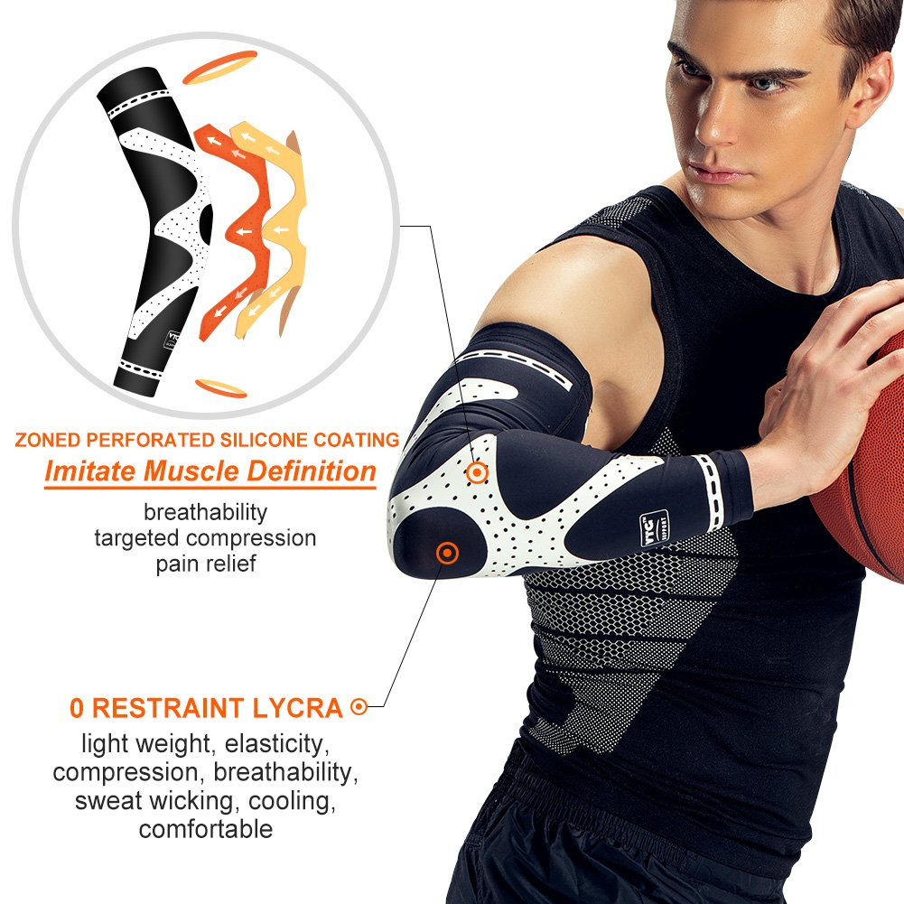 bf6a578f11 Amazon.com: VTG Compression Arm Sleeve Sports Brace Support for Running  Basketball Cycling Golf Tennis Crossfit Fitness Lycra Breathable Support Arm  Muscle ...
