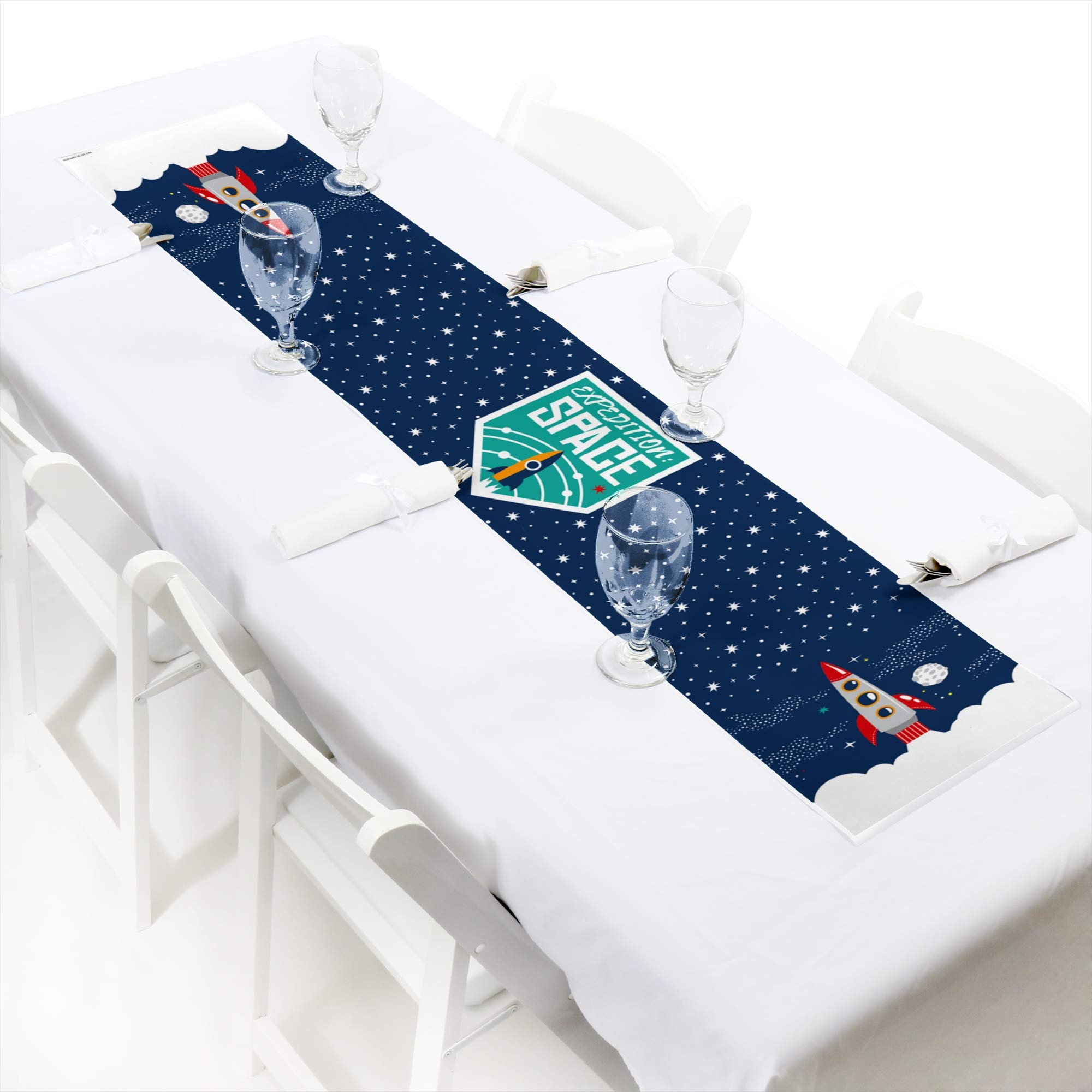 Big Dot of Happiness Blast Off to Outer Space - Petite Rocket Ship Baby Shower or Birthday Party Paper Table Runner - 12 x 60 inches by Big Dot of Happiness