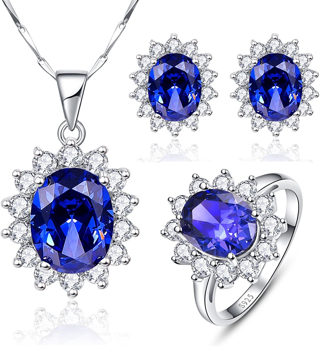Halo Tanzanite Cz Stud 925 Sterling Silver Earrings Jewelry Accessories Key Chain Bracelet Necklace Pendants