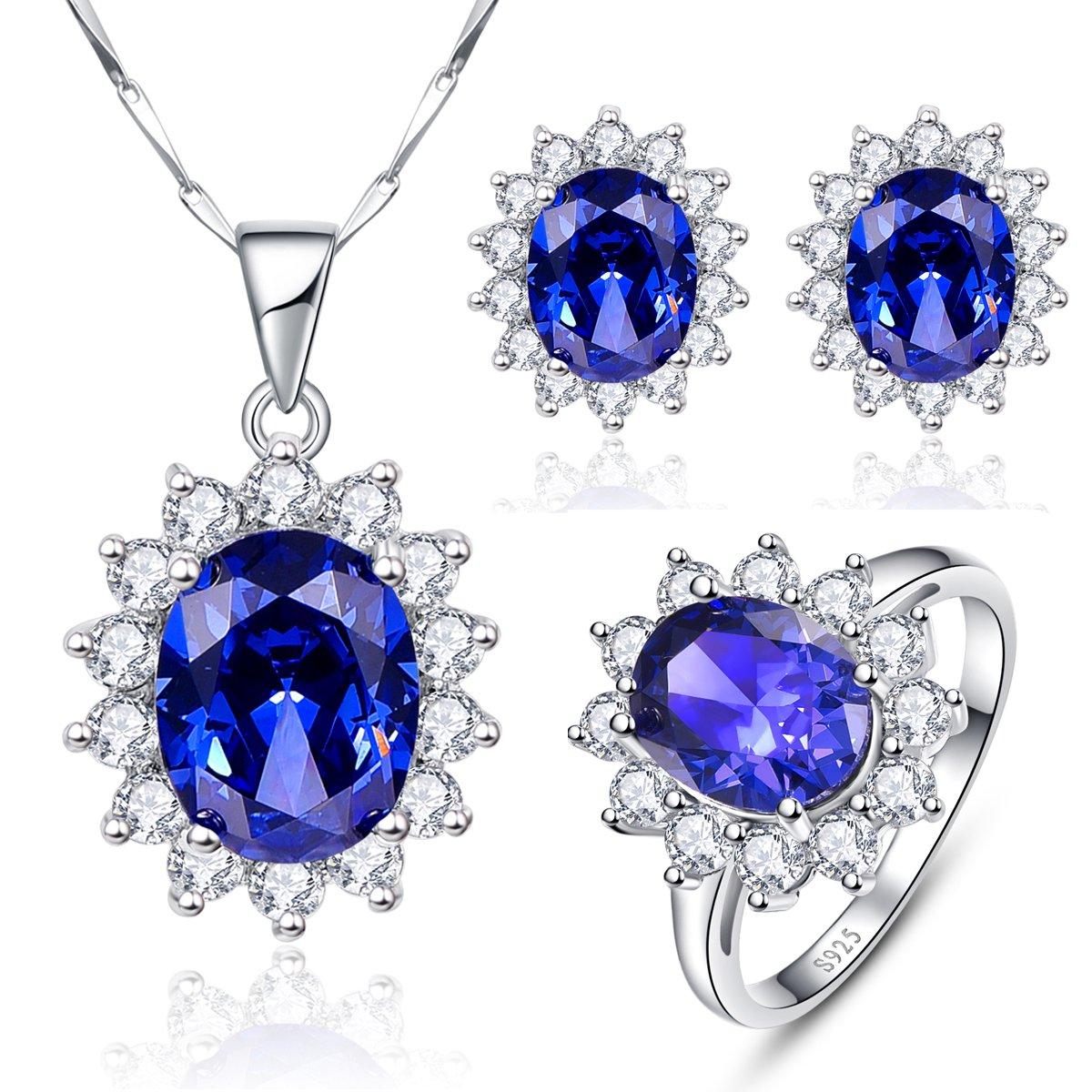 BONLAVIE Women's Princess Diana William Kate Blue Tanzanite Jewelry Sets 925 Sterling Silver Ring Necklace Earrings, 7