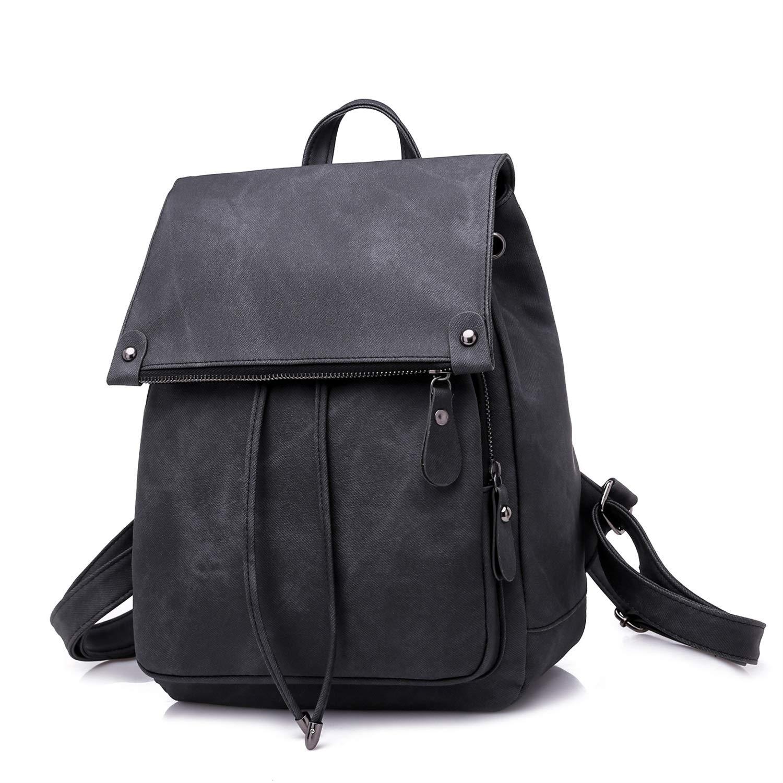 Aihifly College Wind Rucksack Damenmode Pu-Leder Handtasche Reine Farbe Damen Tasche Wasserdicht (Farbe   Schwarz) B07Q1VGLD5 Rucksackhandtaschen Elegante und robuste Verpackung