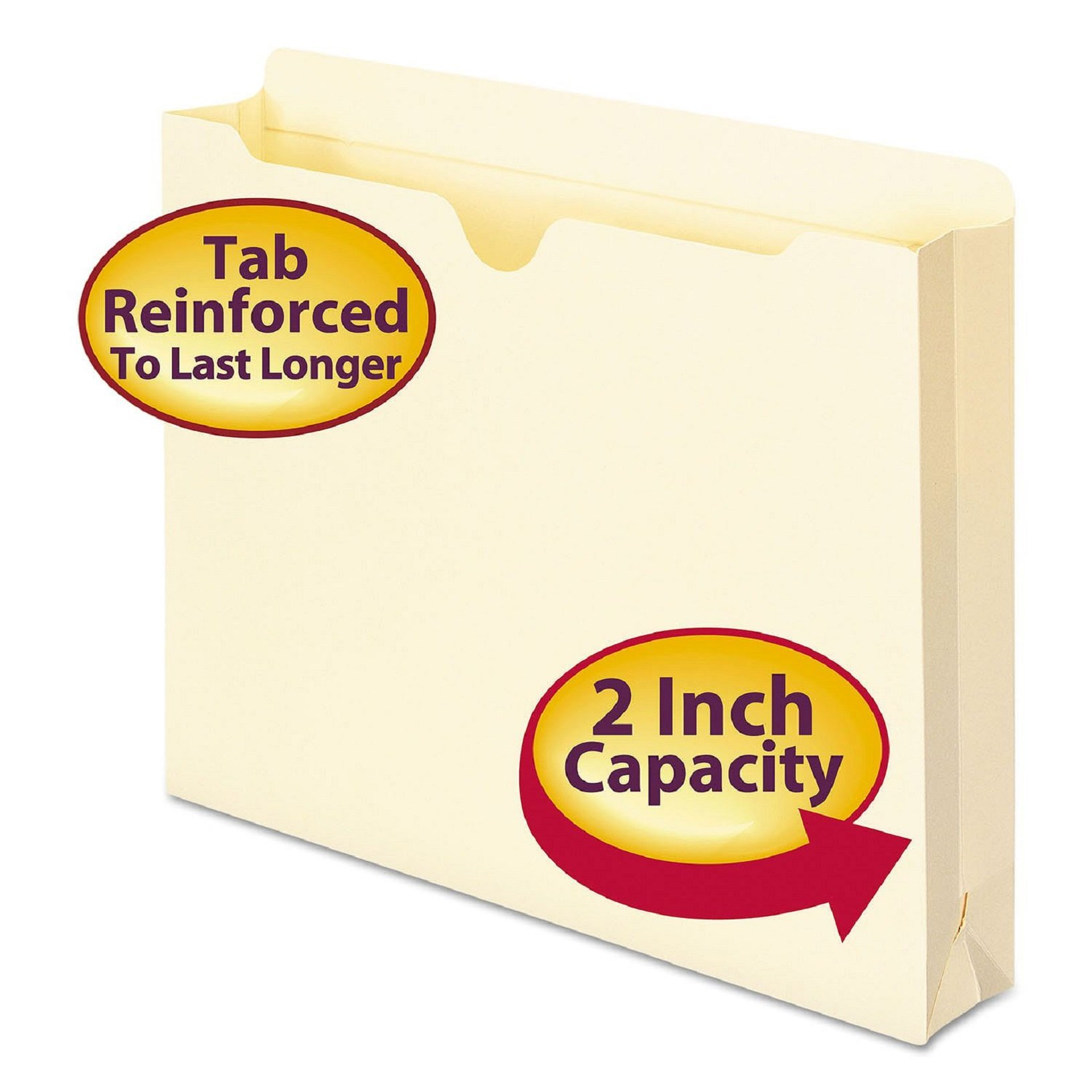 Smead File Jacket, Reinforced Straight Cut Tab, 2 inch Expansion, Letter Size, Manila rpmnHM, 200 count (75560)