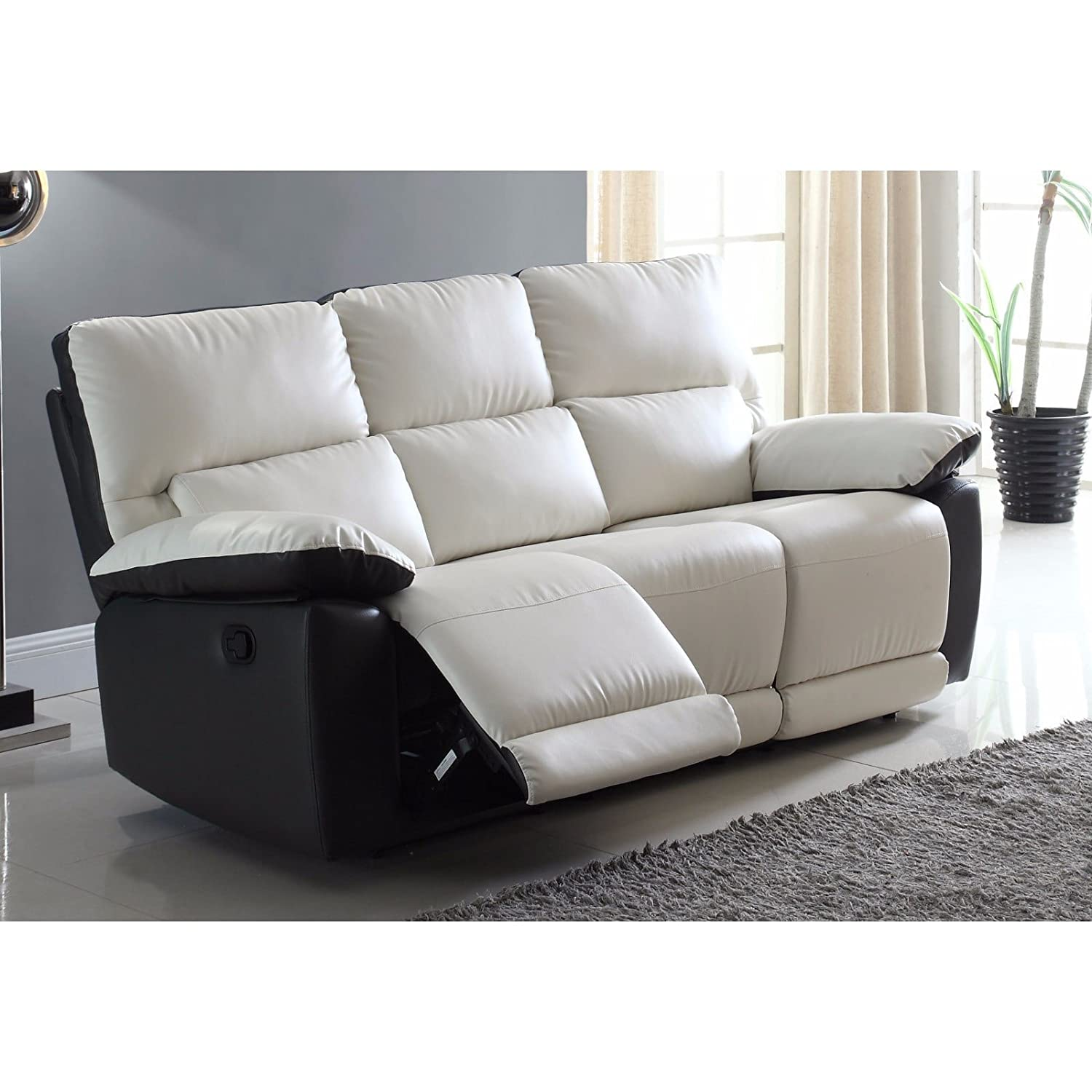 Amazon.com: Modern Two Tone Bonded Leather Oversize Recliner Living ...