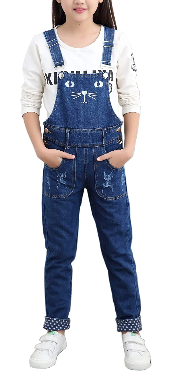 ca9f8fd1a2 Amazon.com  Girls Big Kids Long Jeans Cute Cat Embroidered Distressed Denim  Bib Overalls 1P  Clothing
