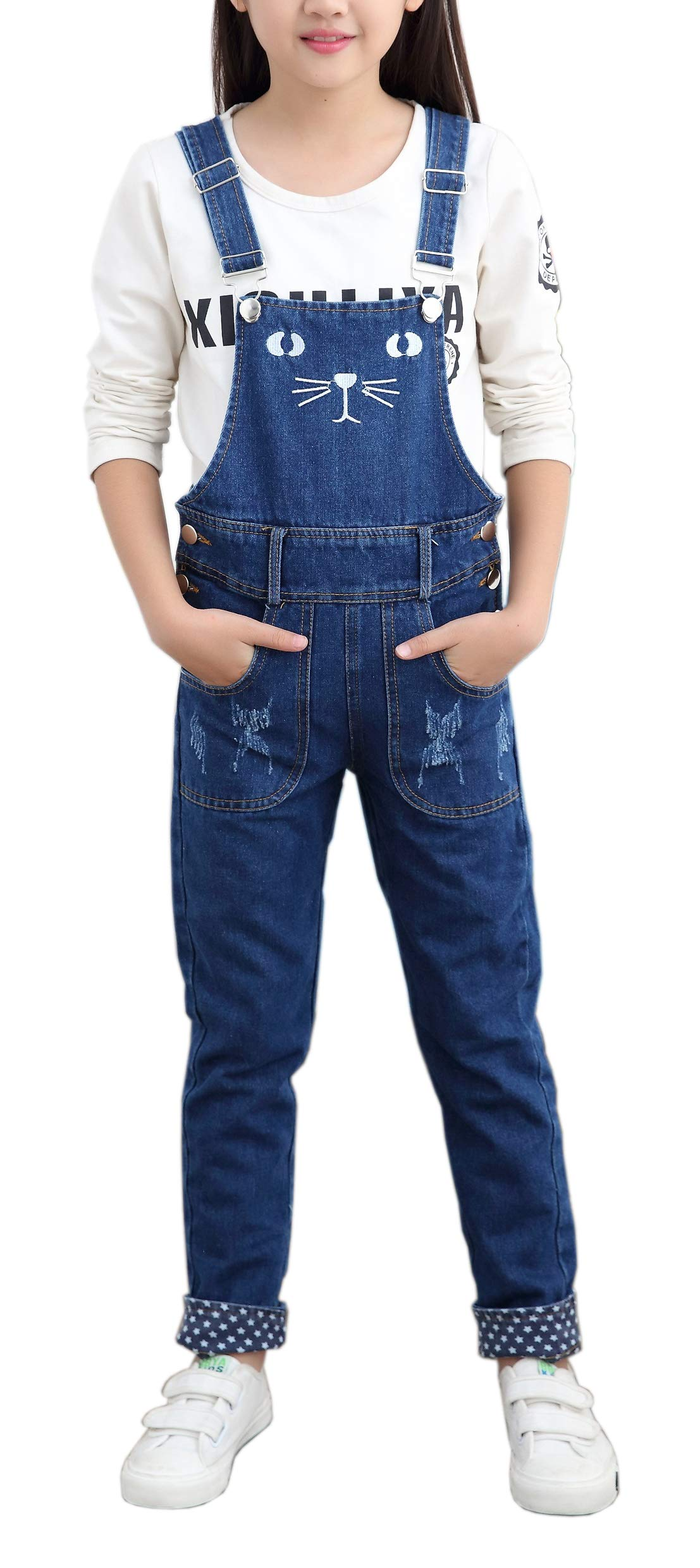 Girls Big Kids Jumpsuits Jeans Denim Bib Overalls for Size 4-13 Years Blue 150