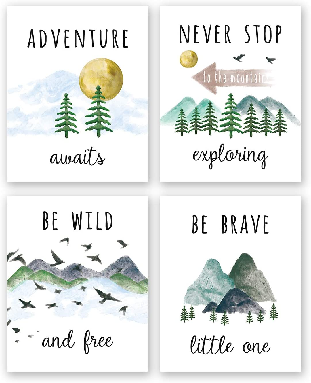"Colorful Inspirational Adventure Quote Art Print- Nature Mountain Forest Motivational Saying Canvas Wall Art-(8""X10""X4 pieces, Unframed)-Perfect for Office Nursery Decoration"