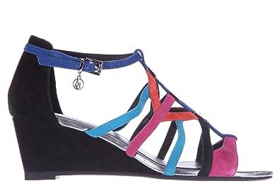 b0bd7742efdd Armani Jeans Women s Suede Shoes Wedges Sandals Black UK Size 4 C5734 16 WZ