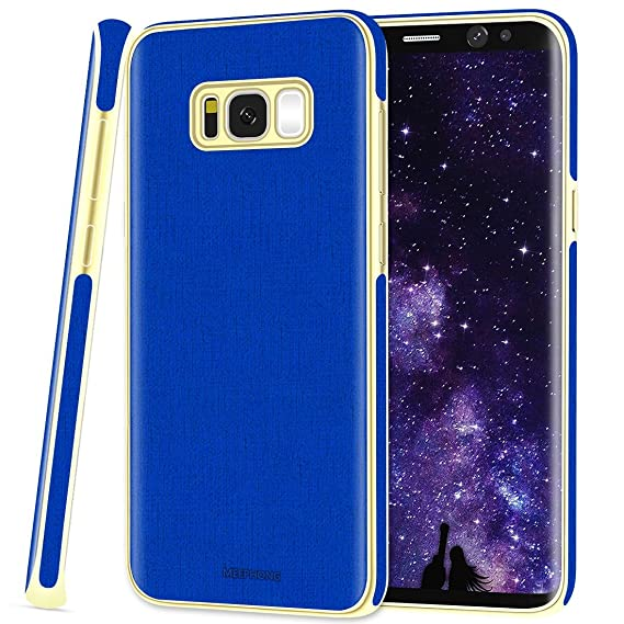 cheap for discount cf284 f7b6b Galaxy s8 Case - Slim Fit Soft Rubber and PU Leather Phone Case for Samsung  Galaxy s8 - Blue and Gold Cases