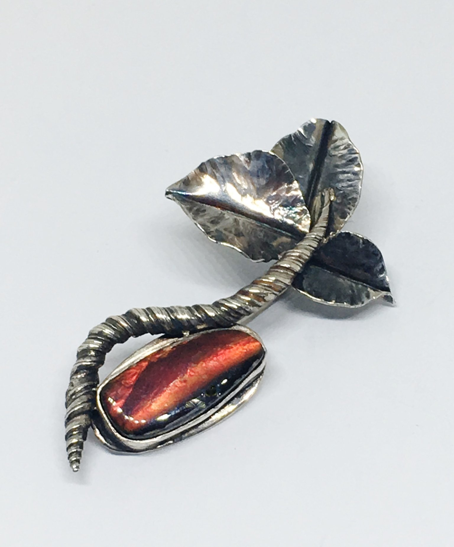 Ammolite Botanical Brooch in Sterling Silver