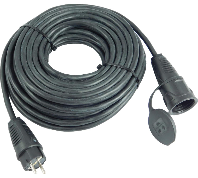 Cable alargador 20 m, 3 x 1,5 mm, IP54, para construcci/ón, jard/ín, industria, mercados y exteriores NWP H07RN-F