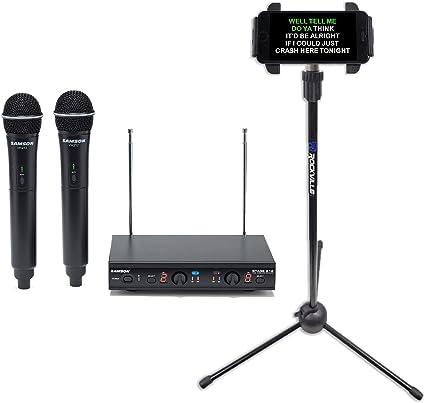 Samson Dual VHF - Micrófono inalámbrico Karaoke Vocal + soporte ...
