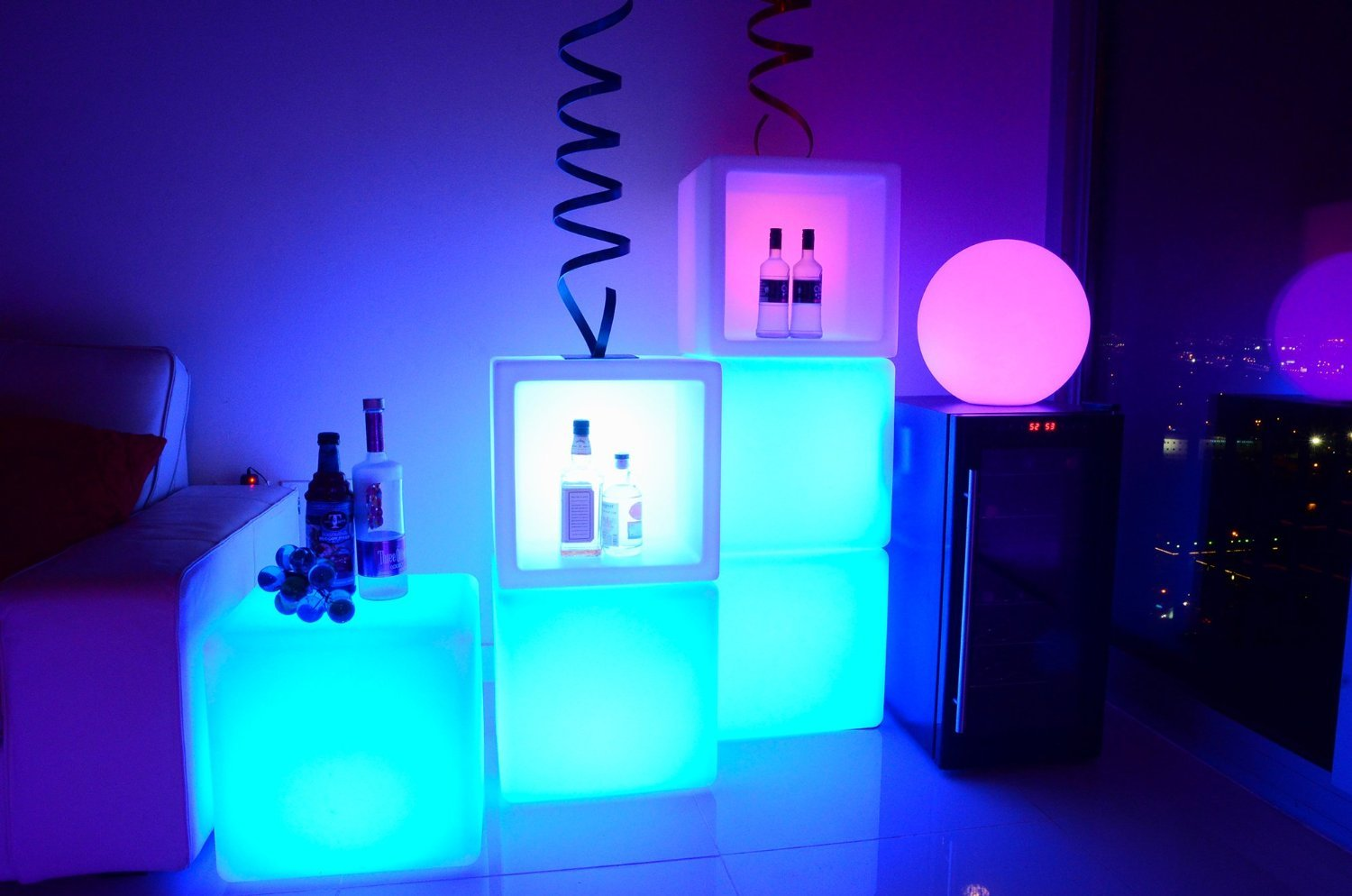 Mr.Go Outdoor/Indoor Rechargeable LED Light SEMI-STORAGE CUBE 16'', Cordless with Remote Control RGB Color Changing Glowing Furniture Cabinet Container End Table Ice Bucket Flower Pot Planter by Mr.Go (Image #5)
