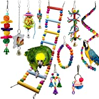 SONYANG 10 Pcs Bird Swing Chewing Toys Bird Perches Bird Toys Parrots Mirrors for Love Birds Budgie Macaws Cockatiels Parakeets African Grey Parrot Finches Lorikeets and Other Large Medium Small Birds