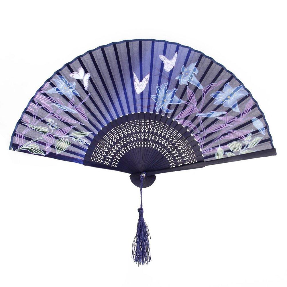 Tinksky plegable ventilador mano Mujer Hollowed de bambú Ventilador de Mano para Bodas y Fiestas (mariposa Lily de regalo)